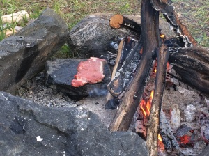 Steak cooked on a rock...