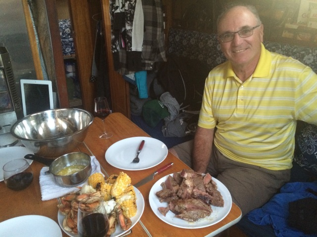 Surf 'n' turf on the boat