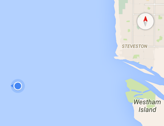 Our location, going around the jetty