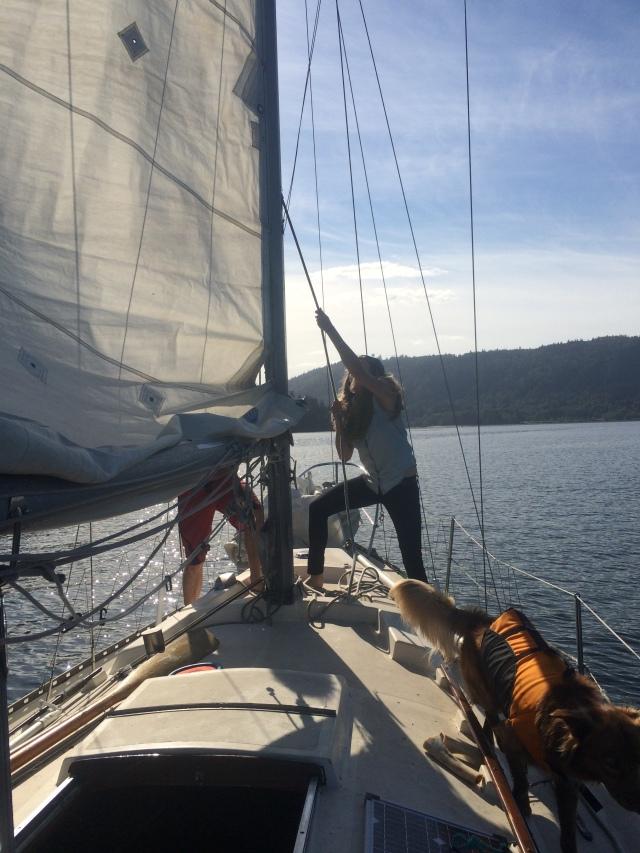 Paula learning to hoist the sails